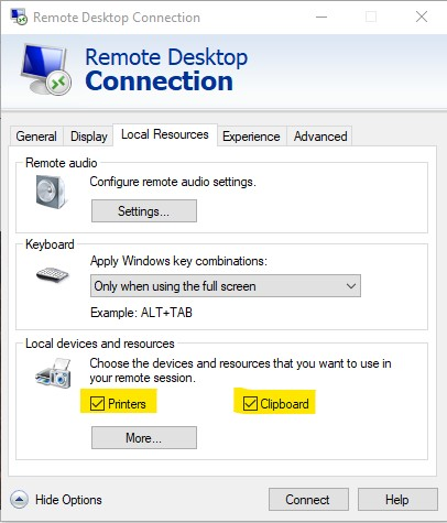 Remote Desktop Connection - Enable Printer - Printing