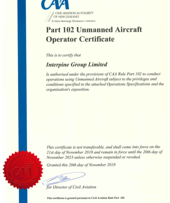 Renewal of CAA CAR102 Drone Operations Certification for Next 5 Years
