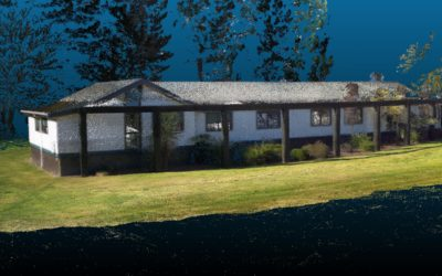 Colourised LiDAR View of our Rotorua Head Office From Hovermap Backpack